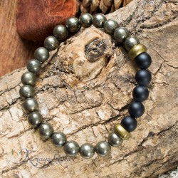 Bracelet homme Pyrite Agate mate