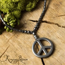 Collier hématite Peace and Love
