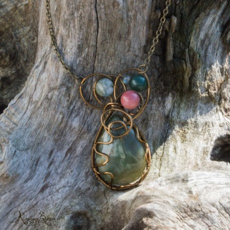 Coliier pendentif en wire wrapping Agate mousse