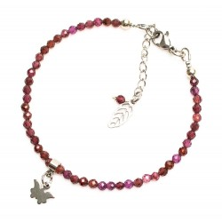 Bracelet en grenat naturel, papillon ~ courage ~